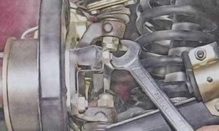 Откручиваем гайку на пальце шаровой опоры на ВАЗ 2101, 2102, 2103, 2104, 2105, 2106, 2107